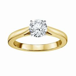 14K YellowéWhite Gold Diamond Solitaire Engagement Ring