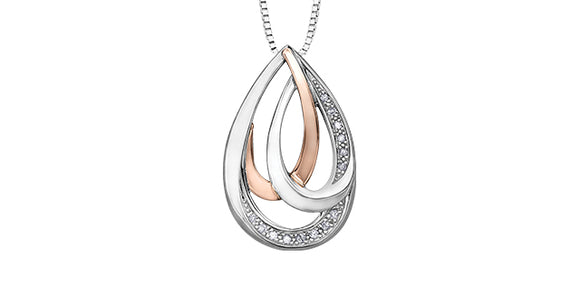 Sterling Silver/10K Rose Gold Triple Teardrop with Diamonds Pendant and 18