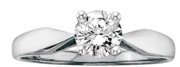 14K White Gold Diamond Classic Solitaire Engagement Ring