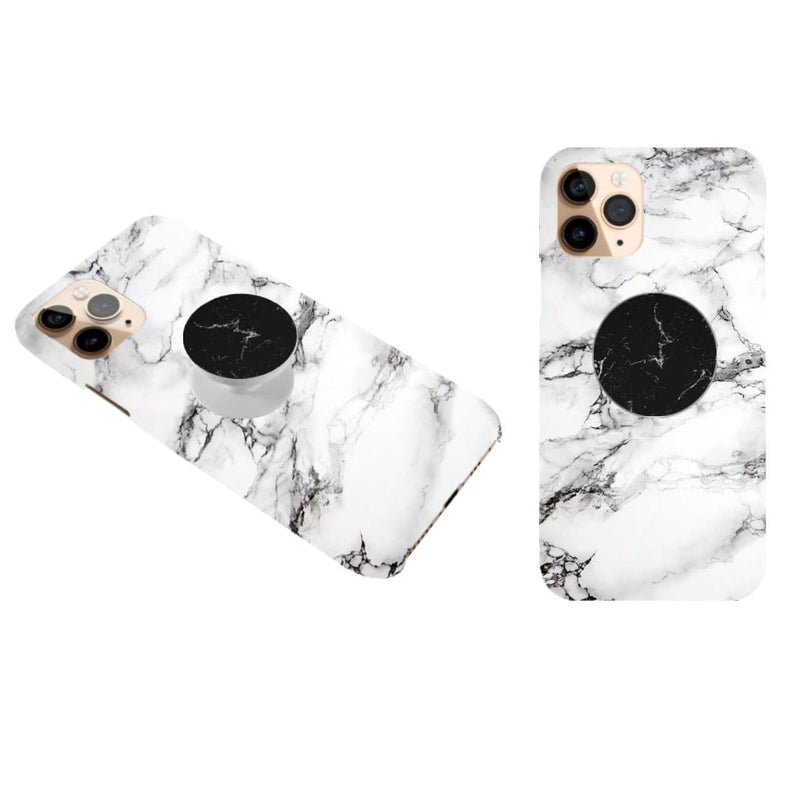 Marble White Cover with Black Popsocket