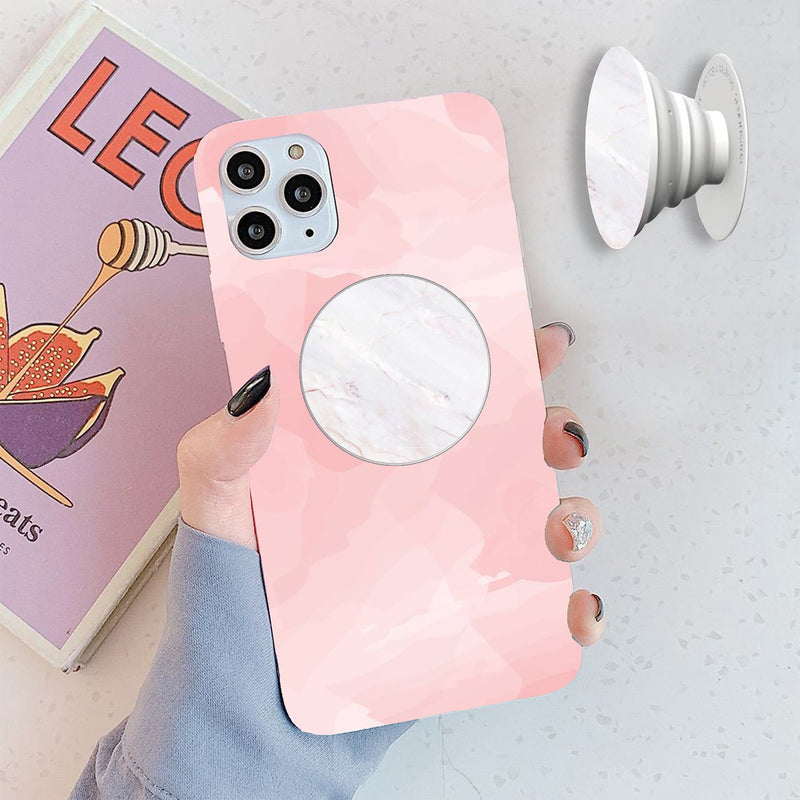 Pink Marble Cover with White Popsocket