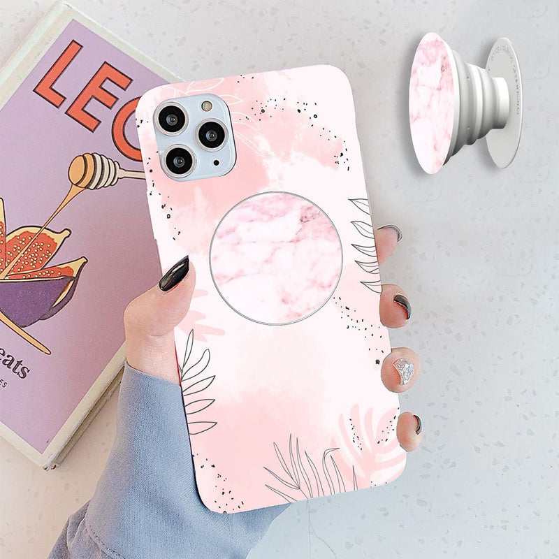 White Pink Marble Popsocket Cover