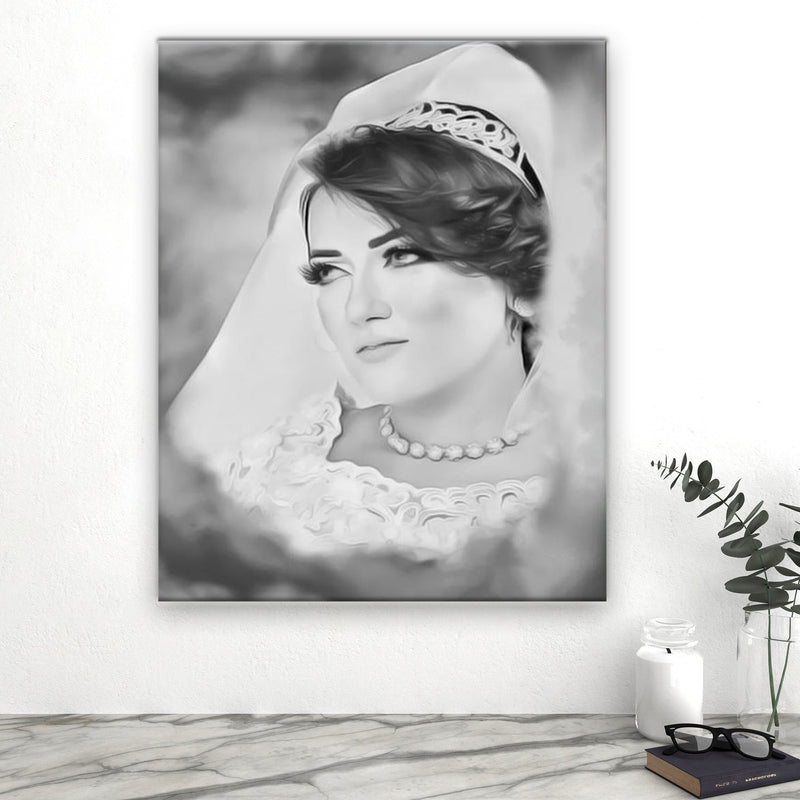 Black and White Effect Canvas Portrait