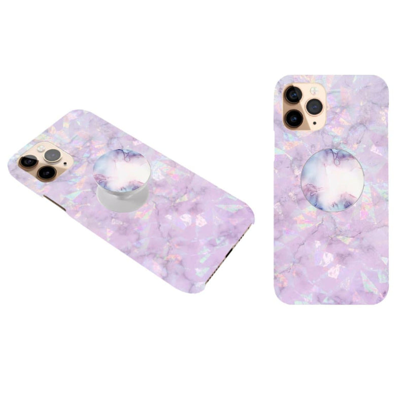 Purple Marble Cover wit Popsocket