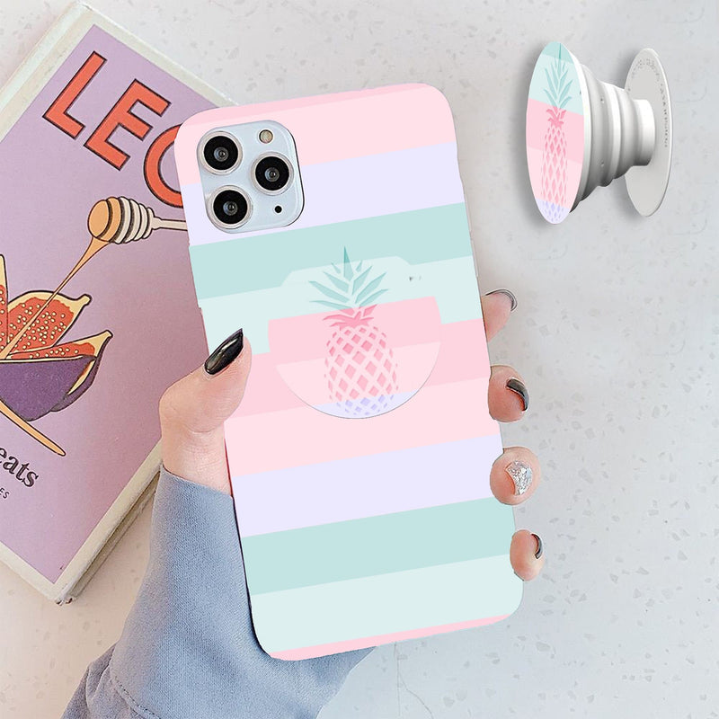 Soft Colorful Pineapple Cover with Popsocket