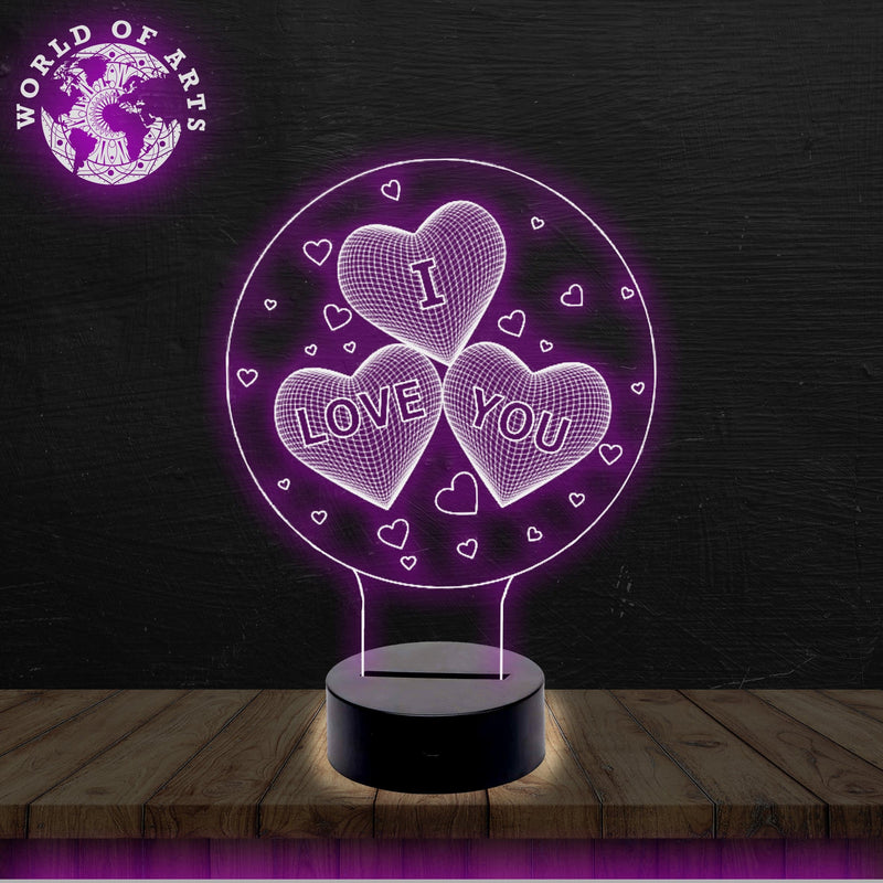 I love you heart 3D ILLUSION LAMP