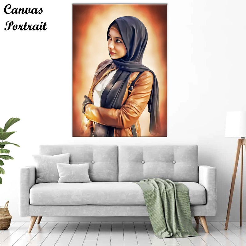 Dark Sepia Effect Canvas Portrait
