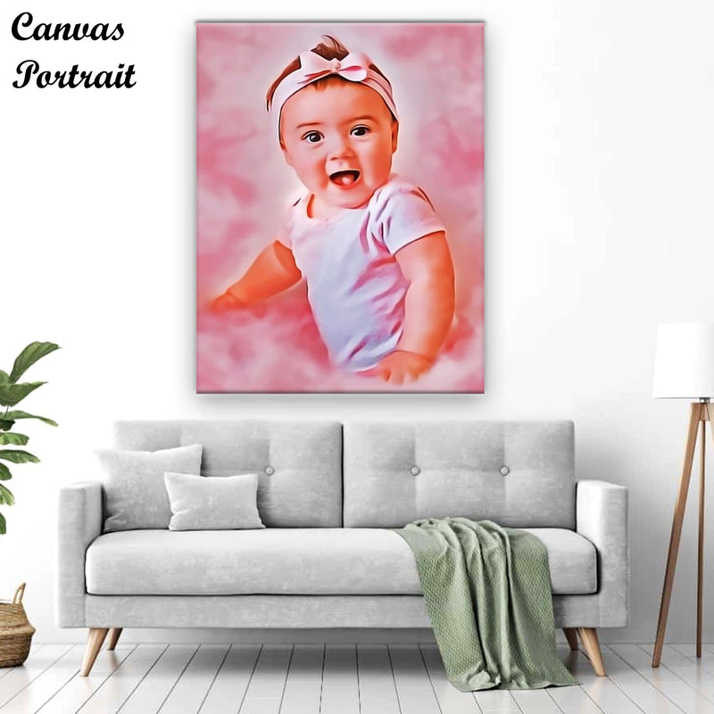 Pink Effect Canvas Portrait