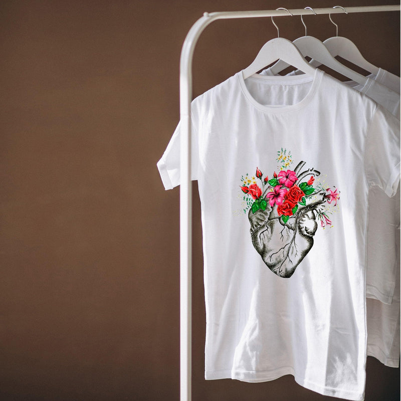 Colorful Floral Heart T-Shirt