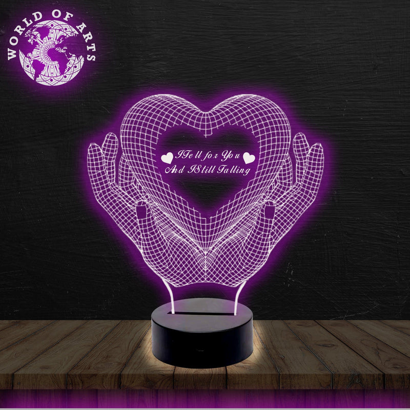 Holding heart quote 3D led lamp