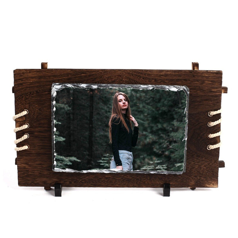 Rectangular Rock Frame With wooden Back