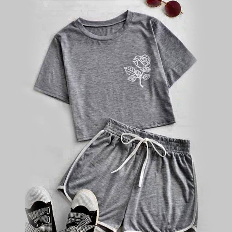 Flower Top  T-Shirt Et Short