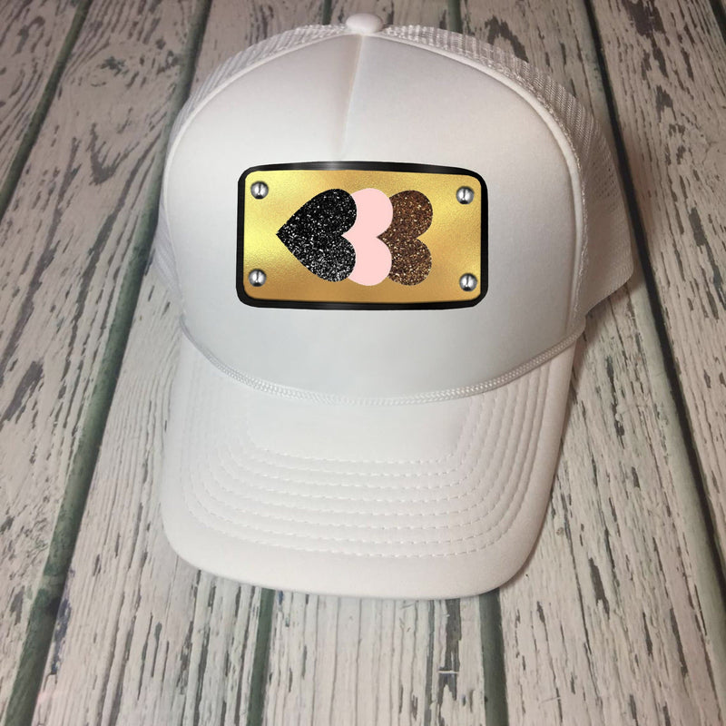 Hearts design white cap