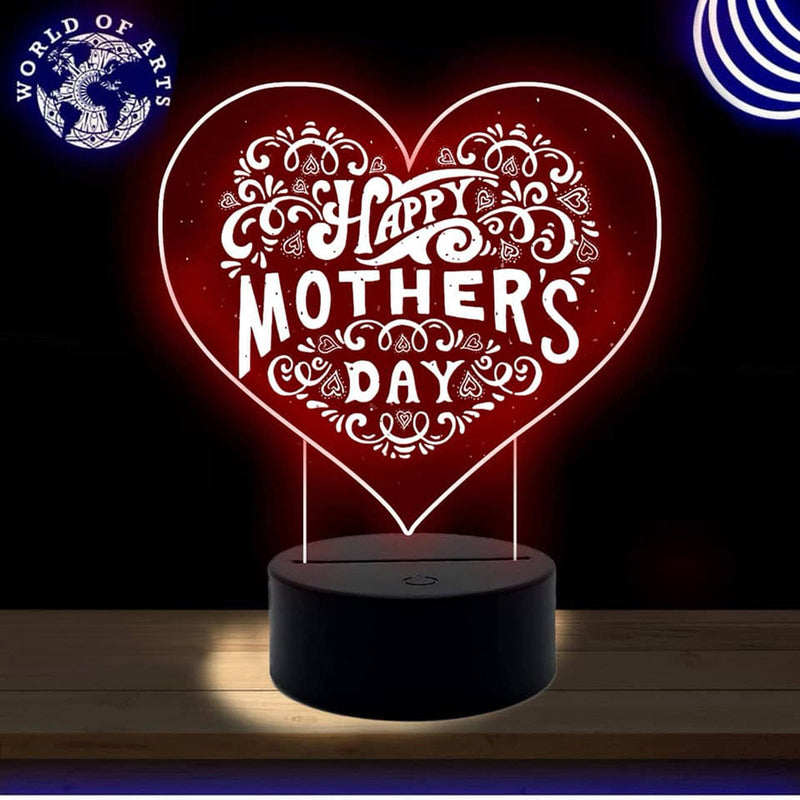 Mother day heart 3D led lamp