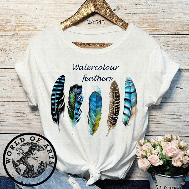 Water Color Feather T-Shirt