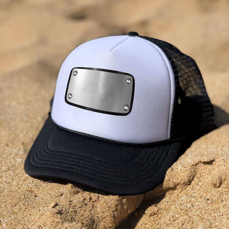 Customized white black cap