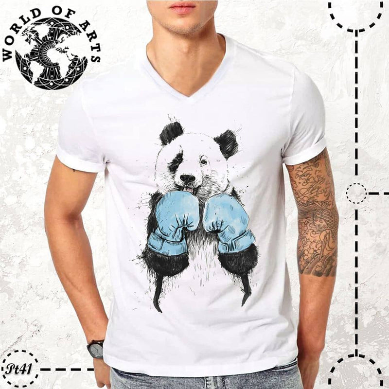 Panda boxing t-shirt