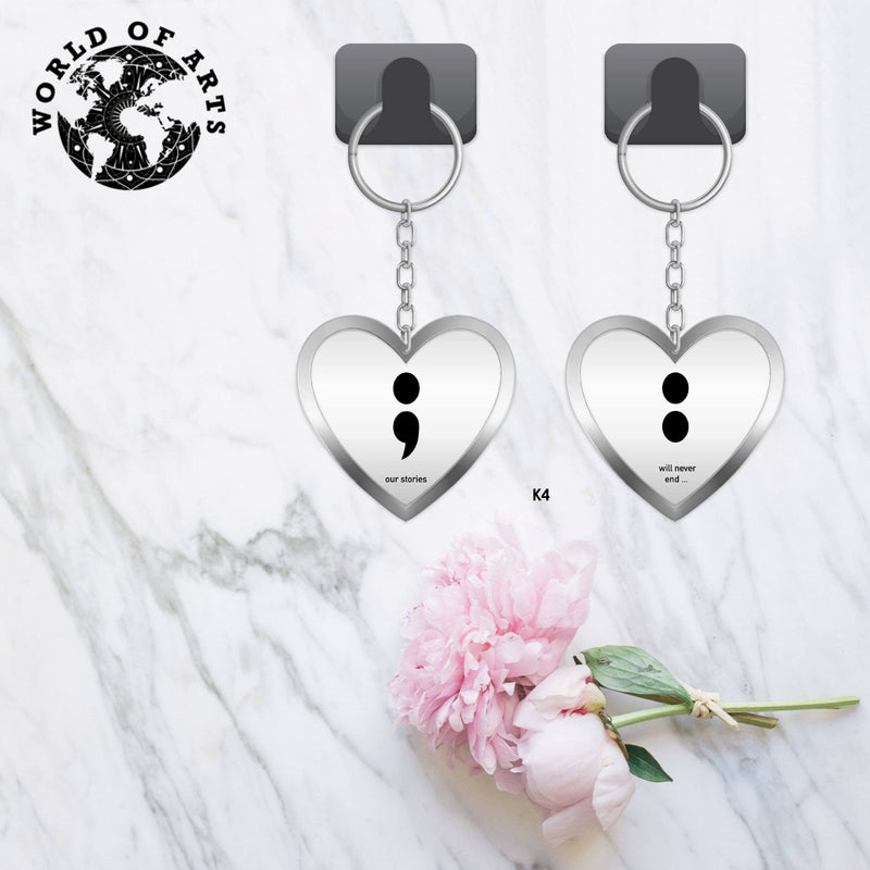 Couples Matching quote heart Keychains