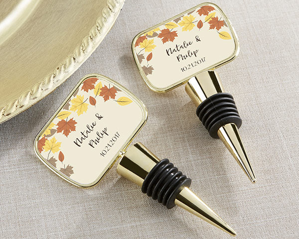 Fall Leaf Gold Bottle Stopper | How to Incorporate Fall Leaves Into Your Wedding | My Wedding Favors