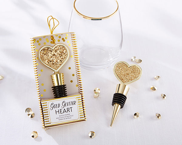 Glitter Heart Bottle Stopper | 9 Gold Party Favors Everyone Will Love | My Wedding Favors
