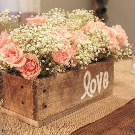 Wood Planter | 8 Decor Ideas for a Rustic Bridal Shower | My Wedding Favors