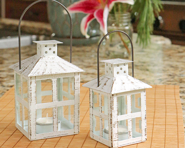 White Distressed Lanterns | 8 Lovely Spring Wedding Favors & Décor | My Wedding Favors