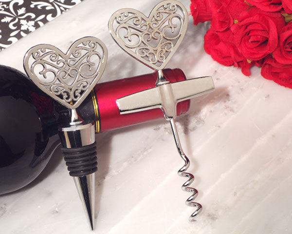 Wine Wedding Favors: Stopper And Corkscrew Set