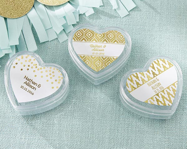 Foil Labels: Gold Heart Container