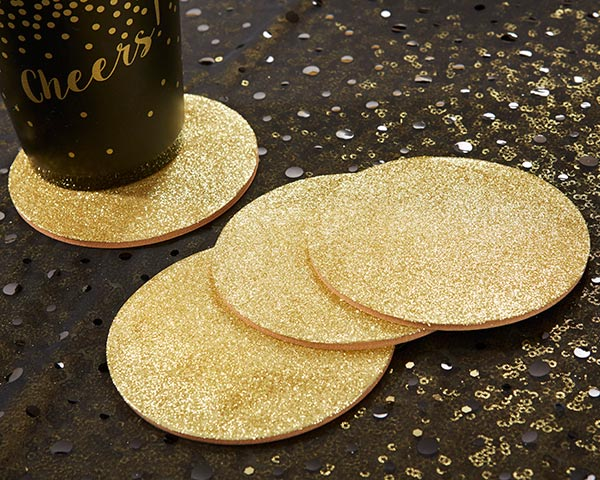 Gold Glitter Coasters | 8 Coasters That Will Dress Up Your Wedding Reception Tables | My Wedding Favors