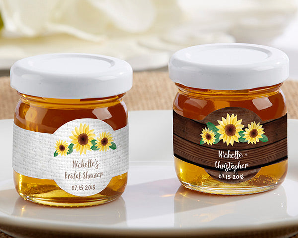Personalized Honey Jar Sunflower | 8 Lovely Spring Wedding Favors & Décor | My Wedding Favors