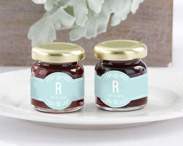 Something Blue Bridal Shower | Rustic Personalized Strawberry Jam | MyWeddingFavors.com