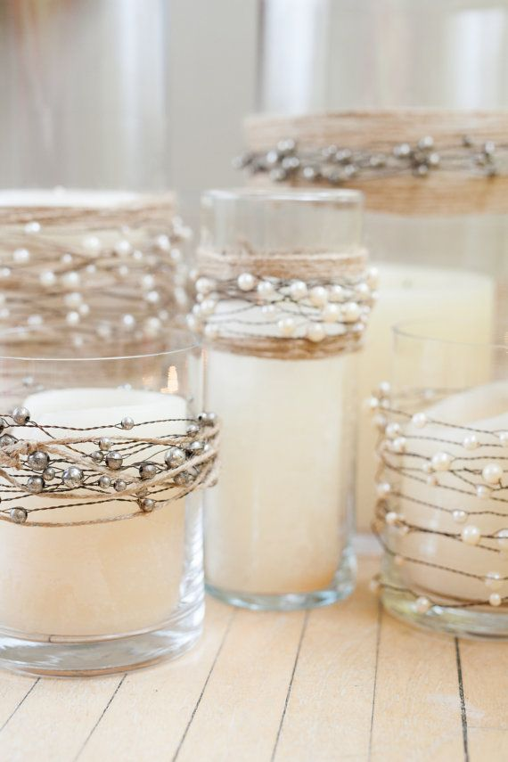 Pearl Wedding Decor: Pearl Candles