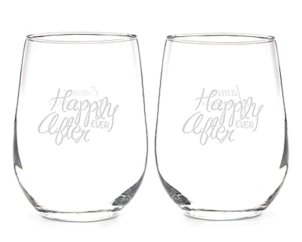 Happily Ever After Stemless Wine Glass Set | MyWeddingFavors.com