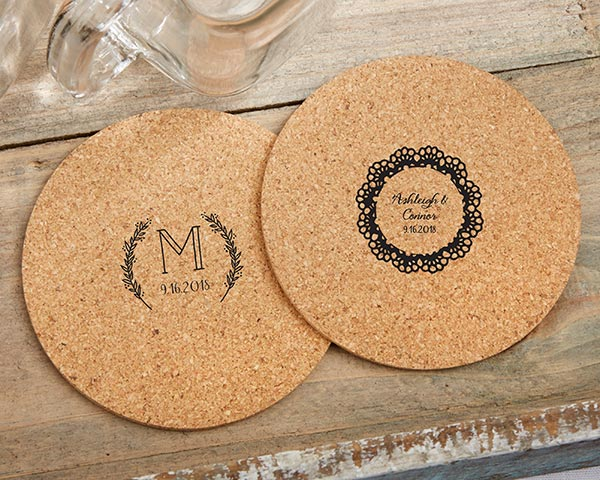Cork Coasters | 8 Coasters That Will Dress Up Your Wedding Reception Tables | My Wedding Favors