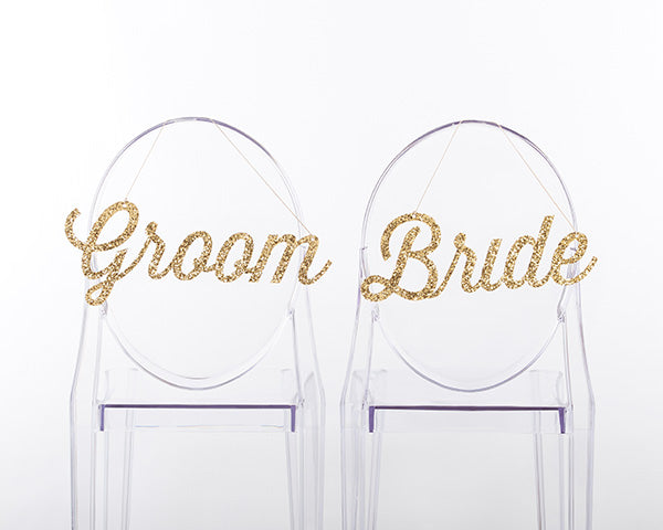 Reception Chair Signs: Gold Glitter