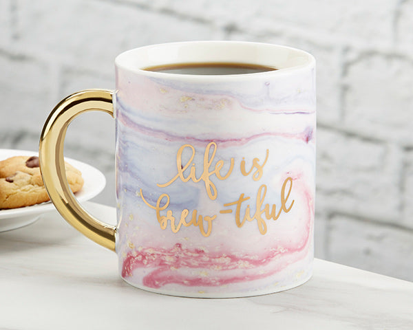 Marbleized 16oz Mug Gold Foil | A Gorgeous Elements Themed Wedding | Kate Aspen