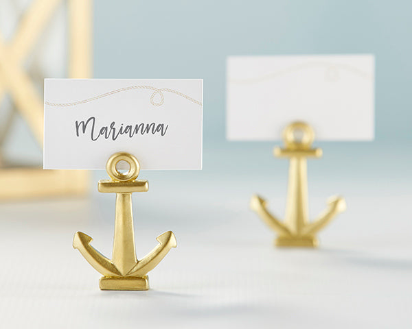 Gold Anchor Place Card Holders | Favors and Decor for a Nautical Wedding | My Wedding Favors