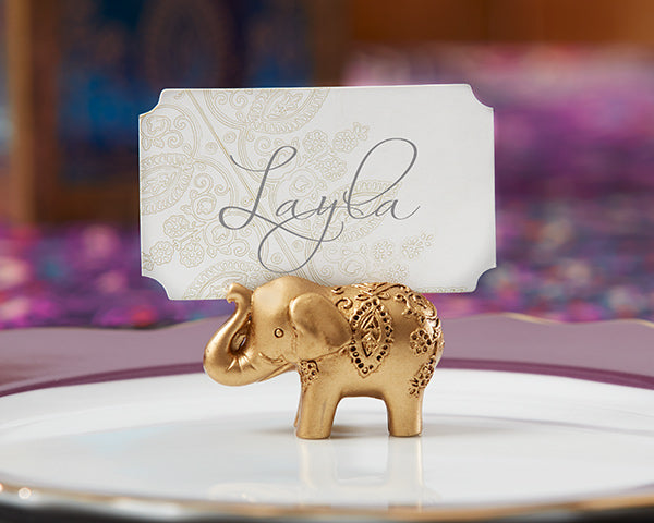 Lucky Gold Elephant | 8 Unique Wedding Reception Place Card Holders | My Wedding Favors