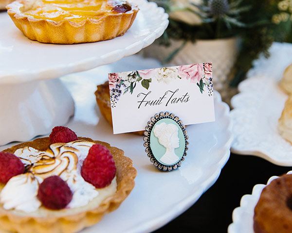 Tea Party Bridal Shower: Cameo Place Cards