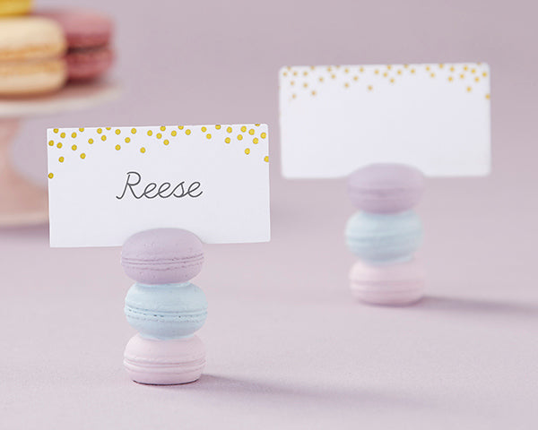 Macarons | 8 Unique Wedding Reception Place Card Holders | My Wedding Favors