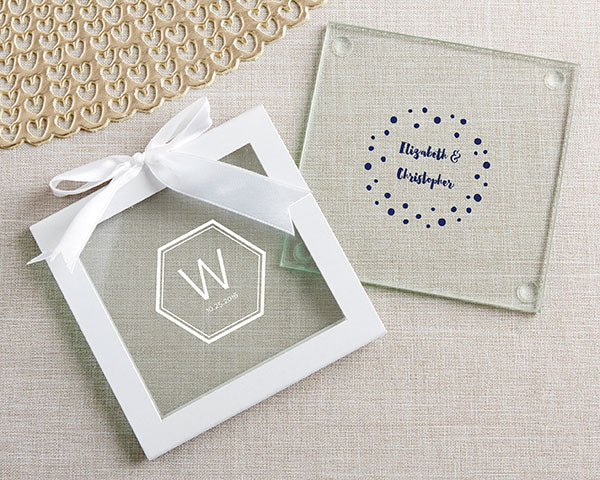Glass Coasters | Modern Classic Wedding Favors | My Wedding Favors