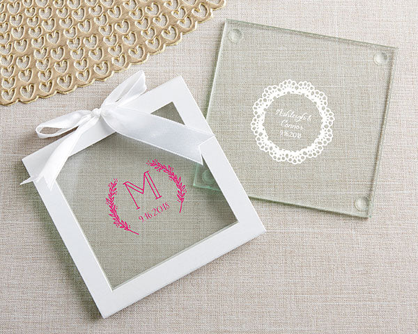 Glass Coasters | 8 Coasters That Will Dress Up Your Wedding Reception Tables | My Wedding Favors