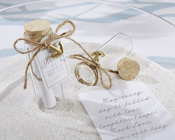 Beachy Wedding Favors: Message In A Bottle