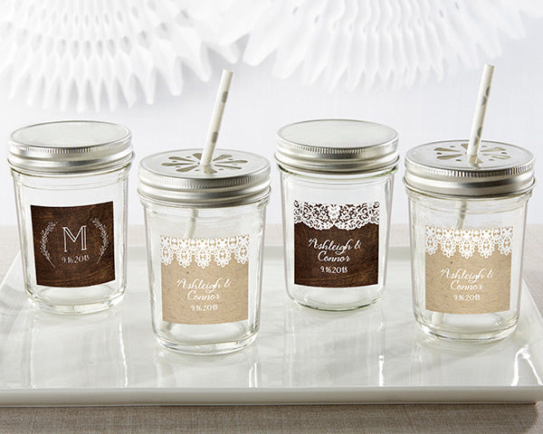 Personalized Mason Jars | 8 Decor Ideas for a Rustic Bridal Shower | My Wedding Favors