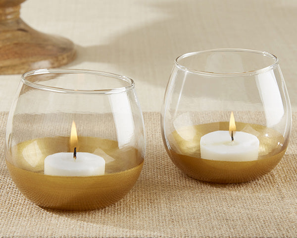 Gold Dipped Glass Votive Holders
