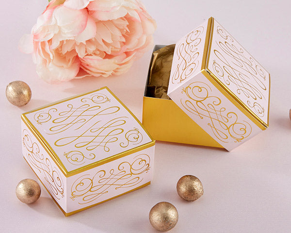 Pink and Gold Square Favor Box | Favor Container Round Up | My Wedding Favors