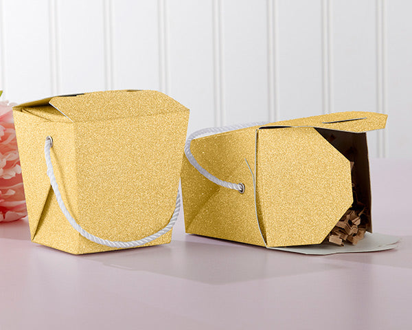 Gold Glitter Takeout Boxes| Favor Container Round Up | My Wedding Favors