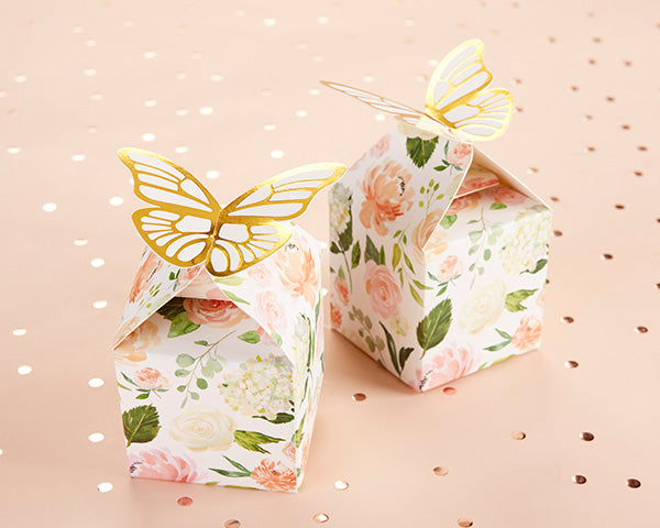 Floral Butterfly Favor Boxes | Everything You Need for a Champagne Brunch Bridal Shower | My Wedding Favors
