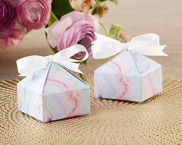 Marbleized Favor Boxes | A Gorgeous Elements Themed Wedding | Kate Aspen
