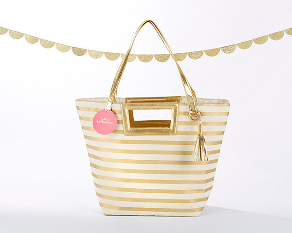 Striped Metallic Gold Tote with Tassel | Personalization Available | @myweddingfavors | MyWeddingFavors.com